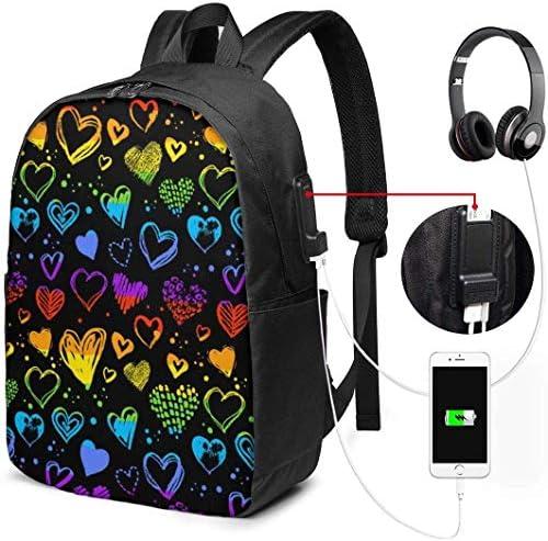 RROOT Root Unisex Rucksack mit USB-Ladeanschluss, Valentinstags-Herz-Muster, klassisch, modisch, Business-Bookbag