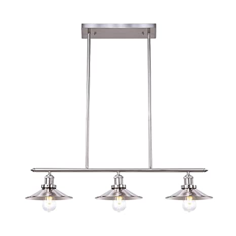 0258ddbeb60c Wellmet Modern Kitchen Light Fixtures with Brushed Nickel Finish, Chrome 3-Lights  Kitchen Island