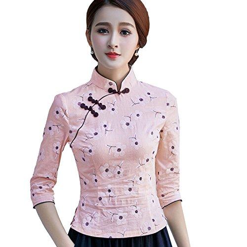 shirt T Fleur Coton Chinois Motif Femme Tang Rose ACVIP de 3 Blouse 4 Traditionnel Chanvre de en Veste Claire Manche wvRX1ZqIg