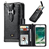 Hulorry iPhone 8 Plus Wallet Case, Protection Case with Card Slots Money Pocket Cover Zipper Wallet Purse Case Drop Resistant Smart Wallet Credit Magnetic Sleeve for iPhone 7 Plus/iPhone 8 Plus