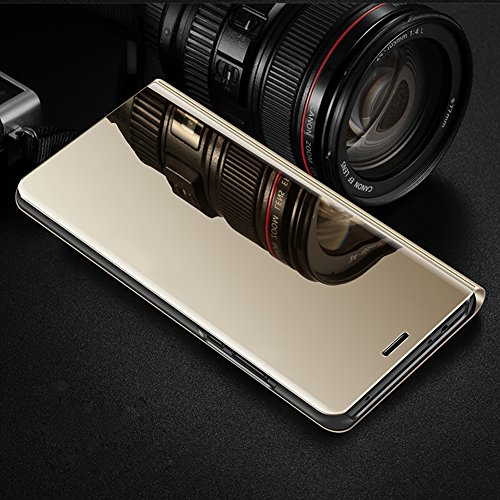 Huawei P10 Case,Huawei P10 Cover,ikasus Ultra-Slim Luxury Hybrid Shock-Absorption Plating Mirror Makeup Case Cover PU Leather Flip Stand Kickstand Protective Case Cover for Huawei P10,Gold by ikasus (Image #1)