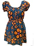 100 % Baumwolle Blau & Orange Gänseblümchen-muster U-ausschnitt Delilah Top - Fair Trade