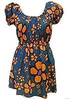 100 % Coton Bleu & Orange Marguerite Col Rond Imprimé Delilah Top - Commerce Équitable