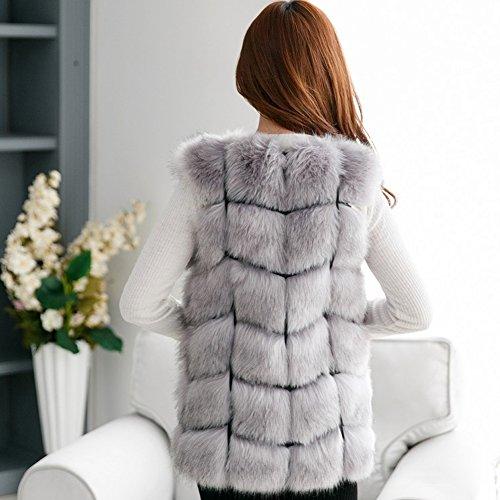 MIOIM® Mujer Chaqueta Del Invierno Chaleco De Piel Sintética de Fox Chaqueta Sin Manga Jacket Abrigo Blanco