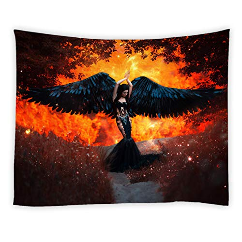 Sexy Woman Tapestry Fantasy Landscape Black Forest Flame Art Hell Messenger Gothic Cool Hippie Chic Unique Decorative Bedroom Decor Wallpaper Home Tapestry Polyester Fabric 70 X 70 Inch Red Black ()
