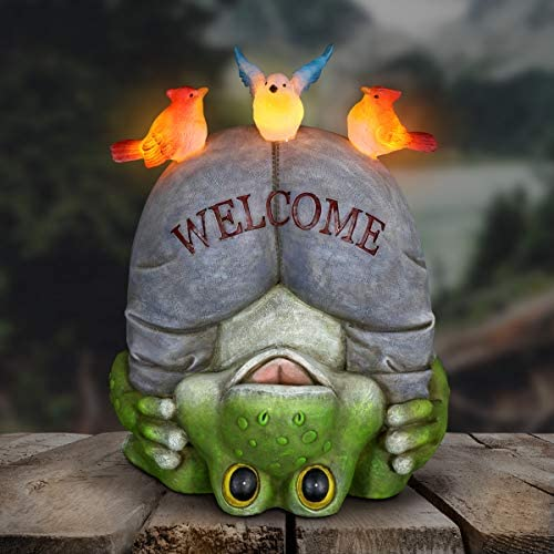 Exhart Solar Welcome Frog and Birds Garden Statue