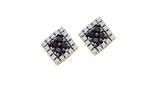 34c30a749 Amazon.com: Square Black Diamond Stud Earrings 14k Yellow Gold Round  Cluster Studs Fashion Style Fancy 1/4 Cttw: Jewelry