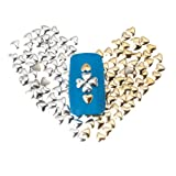 Salon Quality Set of 300 3mm Gold And Silver Heart Metal Studs Manicure Nail Art Decorations By VAGA