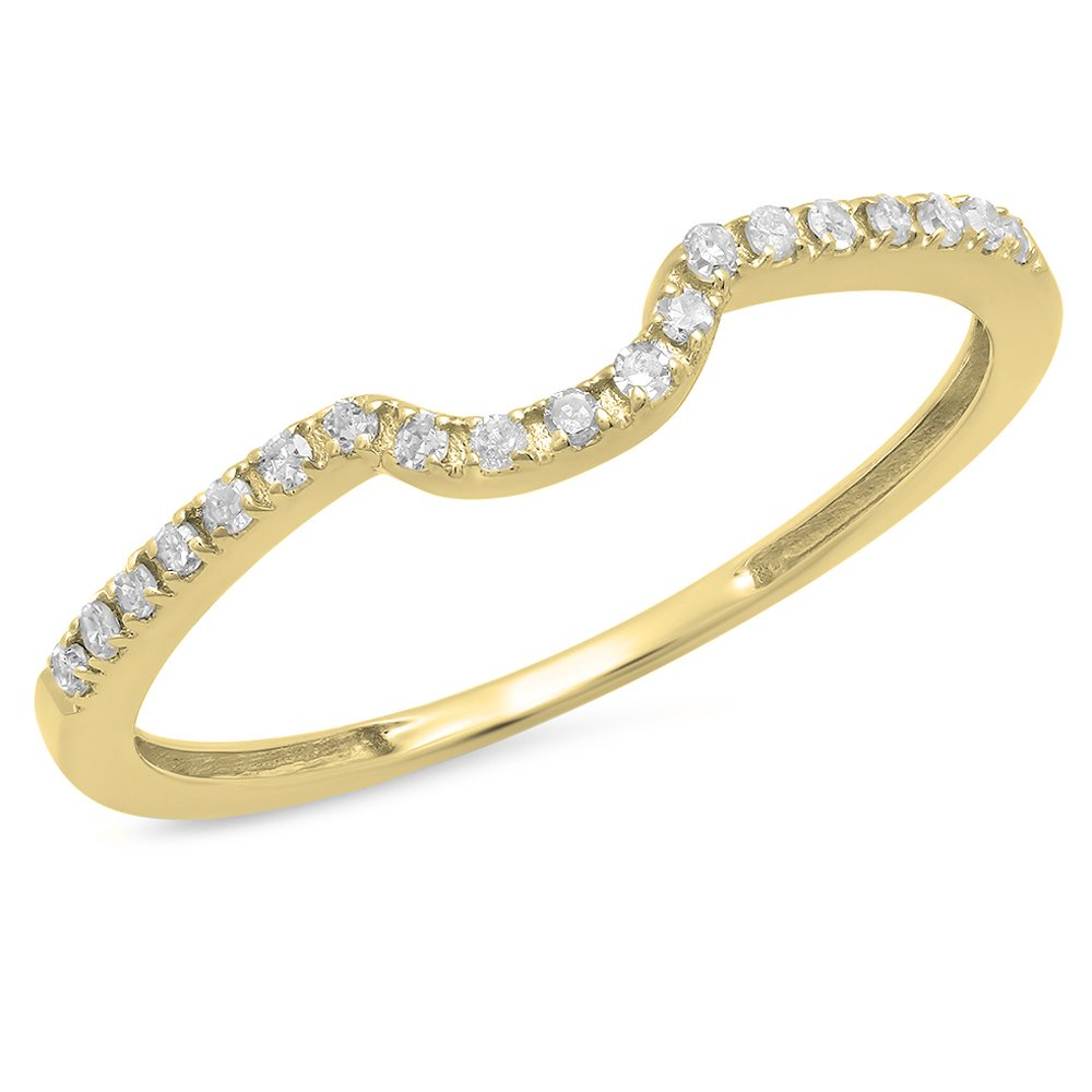 Dazzlingrock Collection 0.11 Carat (ctw) 14K Round White Diamond Ladies Anniversary Band Guard Ring, Yellow Gold, Size 7.5