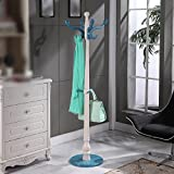European Style Coat Rack / Floor Solid Wooden Hanging Hanger / Bedroom Assembly Household Indoor Dryer / Door Shelf ( Color : Blue )