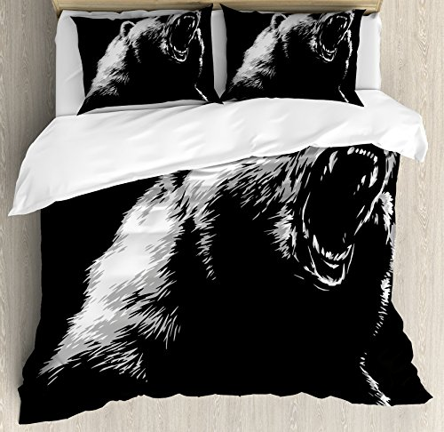Bear Duvet Cover Set King Size by Ambesonne, Sketch Line Art Style Roaring Carnivore Fur and Fangs Aggressive Predator Fauna, Decorative 3 Piece Bedding Set with 2 Pillow Shams, Black - Predator All Black