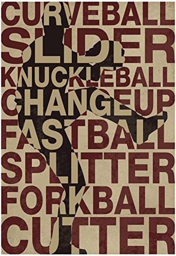 Laminated Baseball Pitches Poster