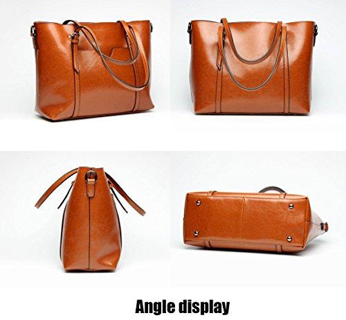 Echt Braun Casual Women's set Capacity Ladies Fashion Bag Large Leder Bag Handbags Vintage Bags Handle Body Cross Top Bags UGOOO Shoulder Bag Hfpw1pq