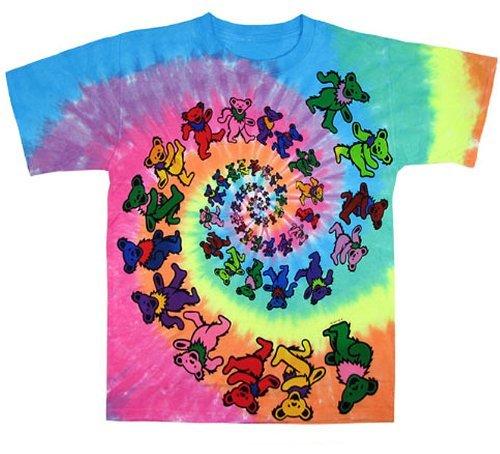 Kiditude Grateful Dead Spiral Bears Kids Tie Dye T-Shirt, Multi (14-16 Years) (Greatful Dead Bear)