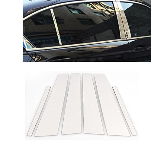 Pillars Honda Accord - 6Pcs Stainless Steel Chrome Window Door Pillar Post Cover Trims Fit for Honda Accord 4DR Sedan 2013-2016