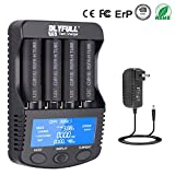 18650 Battery Charger 4 Slot Total Quick Fast Portable Smart Charger Large LCD Screen for Li-ion IMR INR ICR Ni-MH Ni-Cd AAAA AAA AA A SC C D Rechargeable Batteries (4SlotDischargeFunction)