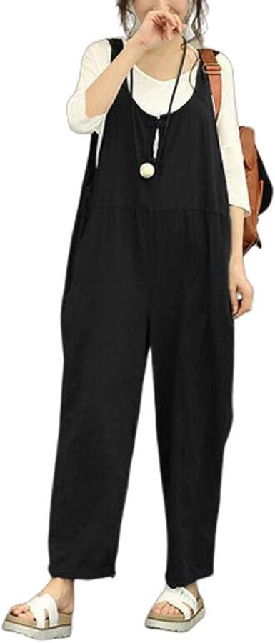 Mono de algodón con Tirantes para Mujer, Talla Grande, Pantalones de harén de Pierna Ancha, Monos Informales: Amazon.es: Ropa y accesorios