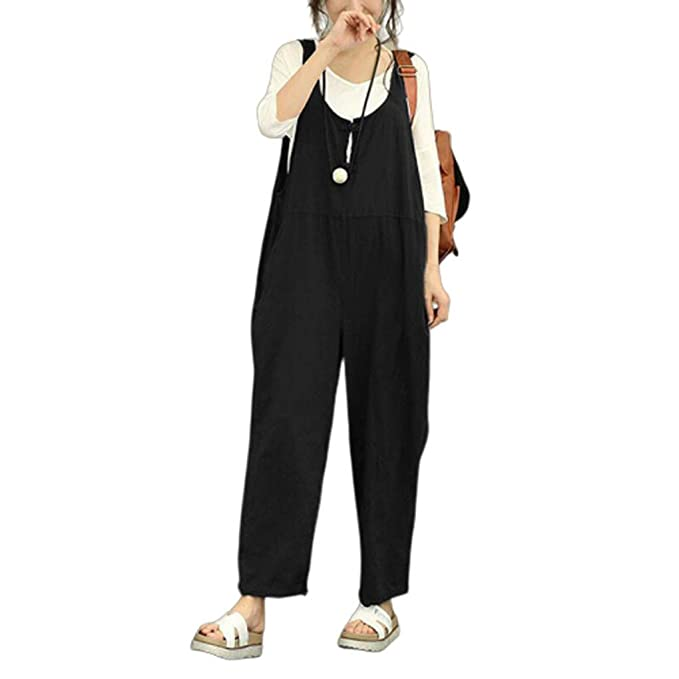 Women Loose Baggy Overalls Jumpsuit Rompers Dungaree Trousers Pants Harem 10-24