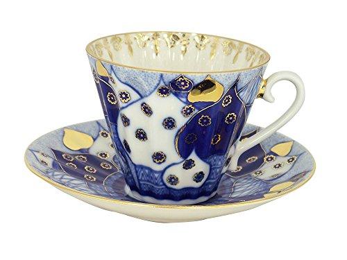 Lomonosov Porcelain Set Orthodox Church Bells 2pc Cup and Saucer 7.95 oz/235 ml