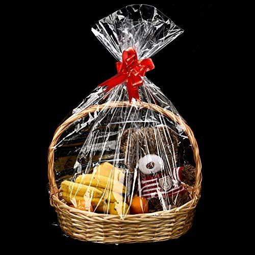 Tatuo Clear Basket Bags Cellophane Wrap Plastic Bag for Gifts Baskets Party Festivals (30 x 44 Inch - 10 Pieces)