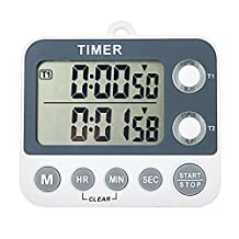AIMILAR Digital Kitchen Countdown Timer 2 Channel Magnetic Large Screen Clock 99 Hours Laboratory