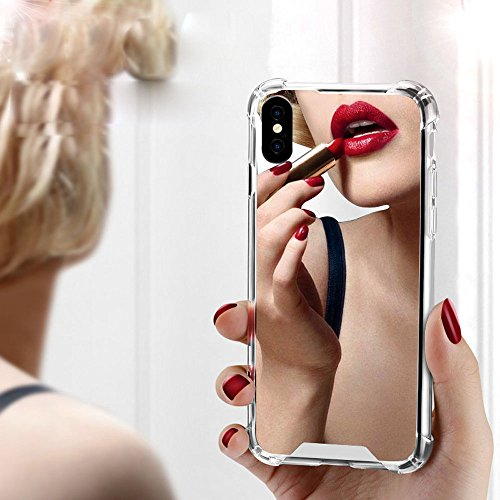 iPhone X Case for Women Girls, Opretty Luxury Glitter Ultra-Thin Mirror TPU PC Back Protect Case for iPhone X Cover Reflect Girly Cute Case-Rose Gold