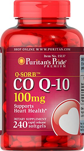 - Puritans Pride Qsorb Co Q10 100 mg Rapid Release Softgels, 240 Count