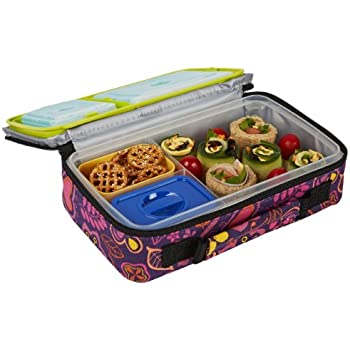 Fit & Fresh Bento Box Lunch Kit with Reusable BPA-Free Removable Plastic Containers, Insulated Lunch Bag and Ice Packs