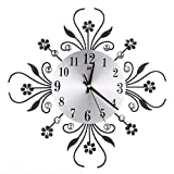 alarm clock direct entry - Elevin(TM)2017 New 3D DIY Style Diamonds Non-Ticking Silent Dazzling Metal Wall Clock Decorative,Battery Operated Quartz Analog Quiet Wall Clock,For Home Kitchen,Office,Living Room,Bedroom (C)