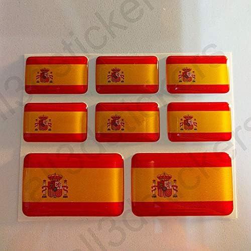 All3dstickers Pegatinas España con Escudo Resina, 8 x Pegatinas ...