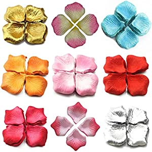 hwangli 1000 Pcs Wedding Scatter Confetti Table Party Silk Fake Rose Flower Petals 110
