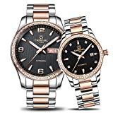 Luxury Automatic Mechanical Rhinestones Men Women Date Luminous Waterproof Stainless Steel Couple Watch (rose gold silver black 1)
