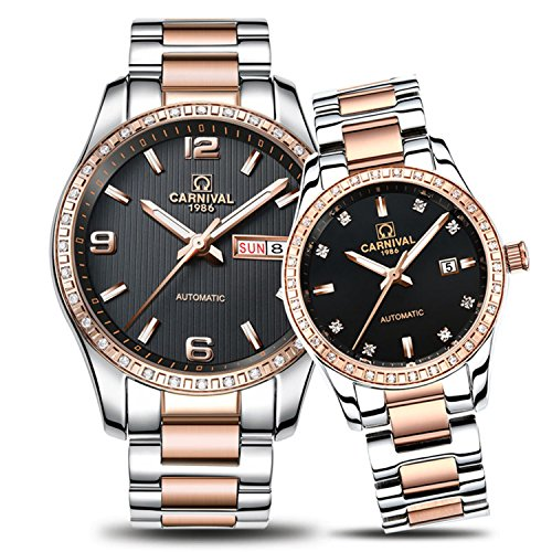 Luxury Automatic Mechanical Rhinestones Men Women Date Luminous Waterproof Stainless Steel Couple Watch (rose gold silver black 1) by Fanmis