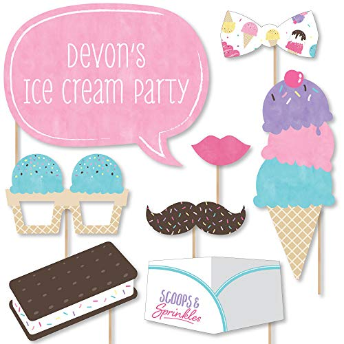 Big Dot of Happiness Custom Scoop Up the Fun - Ice Cream - Photo Booth Props - Personalized Sprinkles Party Supplies - 20 Selfie - Personalized Scoop Cream Ice