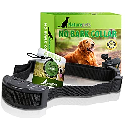 Naturepets No Bark Collar - No Harm Shock Dog Control - 7 Sensitivity Adjustable Levels for Medium Large or Small Dogs 15-120 Pound Dogs (1 dog) by Naturepets