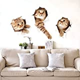 Kaimao Wall Stickers 3D Vivid Decors Murals (Cat) Removable Wallpaper Arts Decals Stickers for kids Rooms DIY Home Decoration