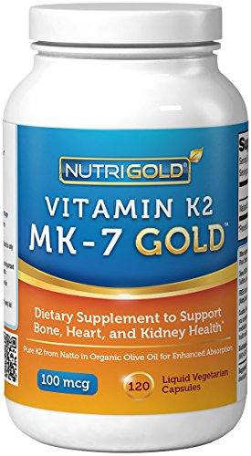 Витамин К2 MK-7, 100 мкг, 120 Liquid Вегетарианская капсулы - Gold Standard 100% натуральный витамин K2 в органическое оливковое масло, и сертифицированы как свободные от ГМО и аллергенов
