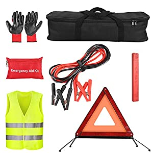 Femor Roadside Assistance Emergency Kit, Car Emergency Tool Auto Safety Kit Practical for European Travel with Rubber…