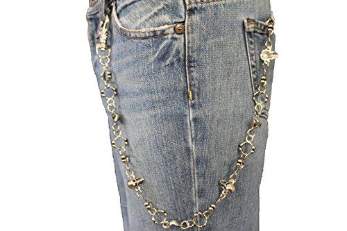 TFJ Men's Biker Fashion Wallet Chain Metal Keychain Skulls Collar Bones Long (Bones Wallet Chain)