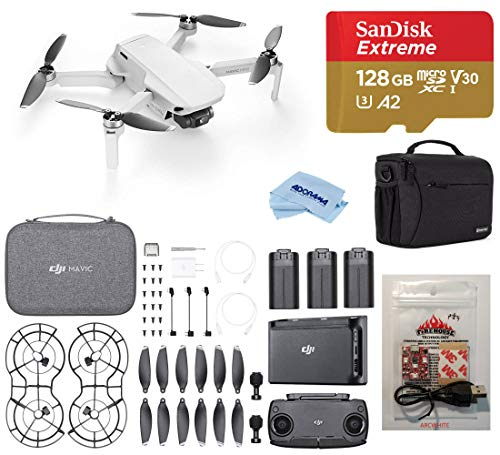 DJI Mavic Mini Fly More Combo Drone FlyCam Quadcopter with 2.7K Camera, Bundle with Case, ARC White Strobe, 128GB microSD Card, Cleaning Kit
