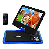 DOUX 9-Inch Screen Portable DVD/CD/MP Player with 5 Hour Built-In Rechargeable Battery, USB/SD Card Reader, Worth Your Trust and Choose (Blue)