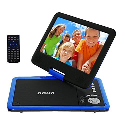 DOUX 9-Inch Screen Portable DVD/CD/MP Player with 5 Hour Built-In Rechargeable Battery, USB/SD Card Reader, Worth Your Trust and Choose (Blue) by DOUX