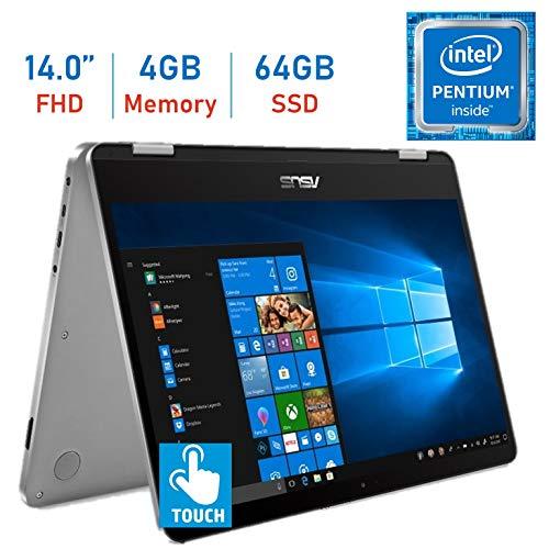 2019 Asus VivoBook Flip 14.0'' 2-in-1 360° Hinge Touch FHD (1920 x 1080) Laptop PC, Intel Quad Core Pentium N5000 up to 2.7GHz, 4GB RAM, 64GB eMMc, Bluetooth, Fingerprint Reader, Windows 10