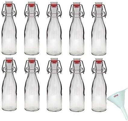 Viva Haushaltswaren - Juego de Botellas de Cristal (10 Unidades 200 ml con Cierre rellenables Incluye Embudo 7 cm de diámetro)