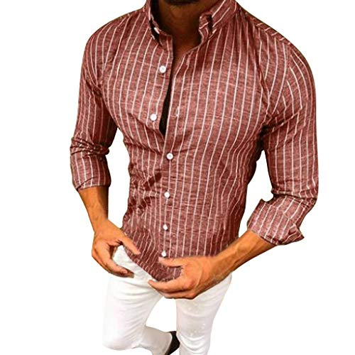 Mens Formal Down Dress Shirts Suit Fit Long Sleeve Button Striped Tops Blouse Beautyfine Red