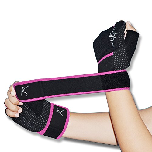 Kinetic Floor Mat (fitKatz Weightlifting Gloves with 18-Inch Wrist Support and Pull-up Tabs, Medium, Pink / Plain)