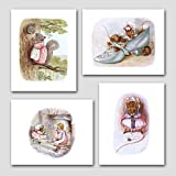 "(Set of 4) Baby Girl Wall Decor (Beatrix Potter Art Prints) ""Girls Nursery Fun"" -- Unframed"