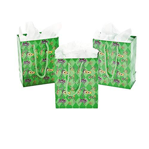 Fun Express - Sm Masquerade Gift Bags for Mardi Gras - Party Supplies - Bags - Paper Gift W & Handles - Mardi Gras - 12 -