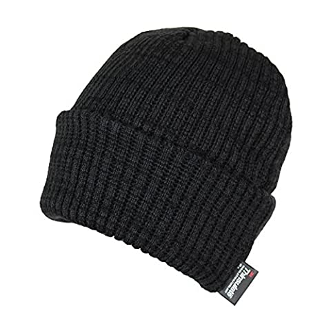 Classic Thinsulate Ribbed Cable Knit Beanie Hat- Warm Acrylic Cuff Winter Cap (Black) - Black Classic Knit Beanie