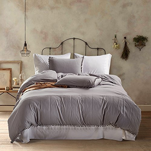 AiMay 3 Piece Duvet Cover Set (1 Duvet Cover + 2 Pillow Shams) Stone-washed Brushed Luxury 100% Super Soft Microfiber Bedding Collection (Full/Queen, Light Gray) (Washed Velvet Pillow Cover)
